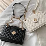 Женская классическая сумка на цепочке через плечо кроссбоди белая, фото 9