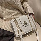 Женская классическая сумка на цепочке через плечо кроссбоди белая, фото 7