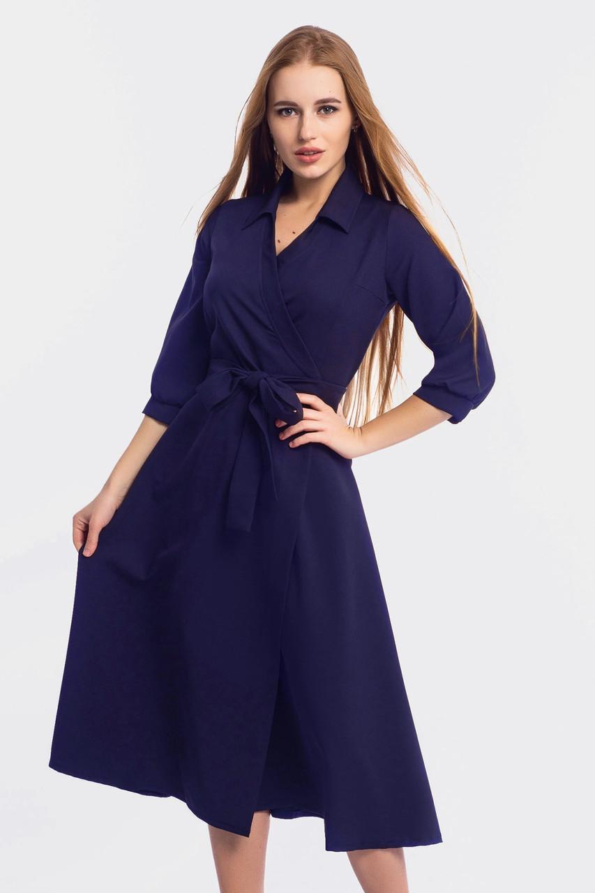 Классическое платье на запах Elizabet, темно-синий