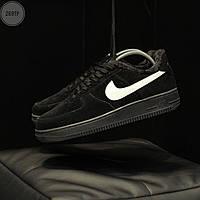 Мужские зимние кроссовки Nike Air Force Low Black Winter (черно-белые) 269TP