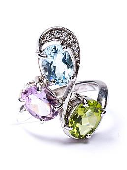 Кольцо серебряное с аметистом, хризолитом и топазом