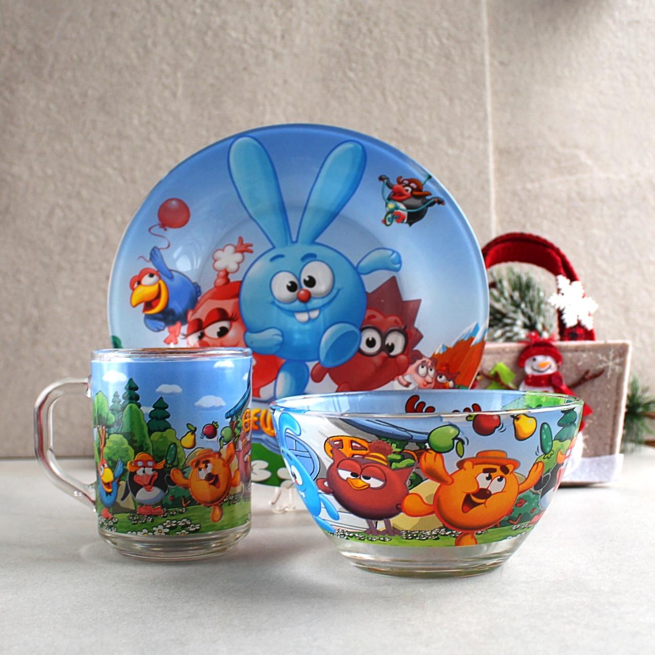 Набір дитячого посуду 3 предмети з мультгероями Смішарики, різнокольоровий