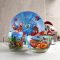 Набір дитячого посуду 3 предмети з мультгероями Смішарики, різнокольоровий, фото 1