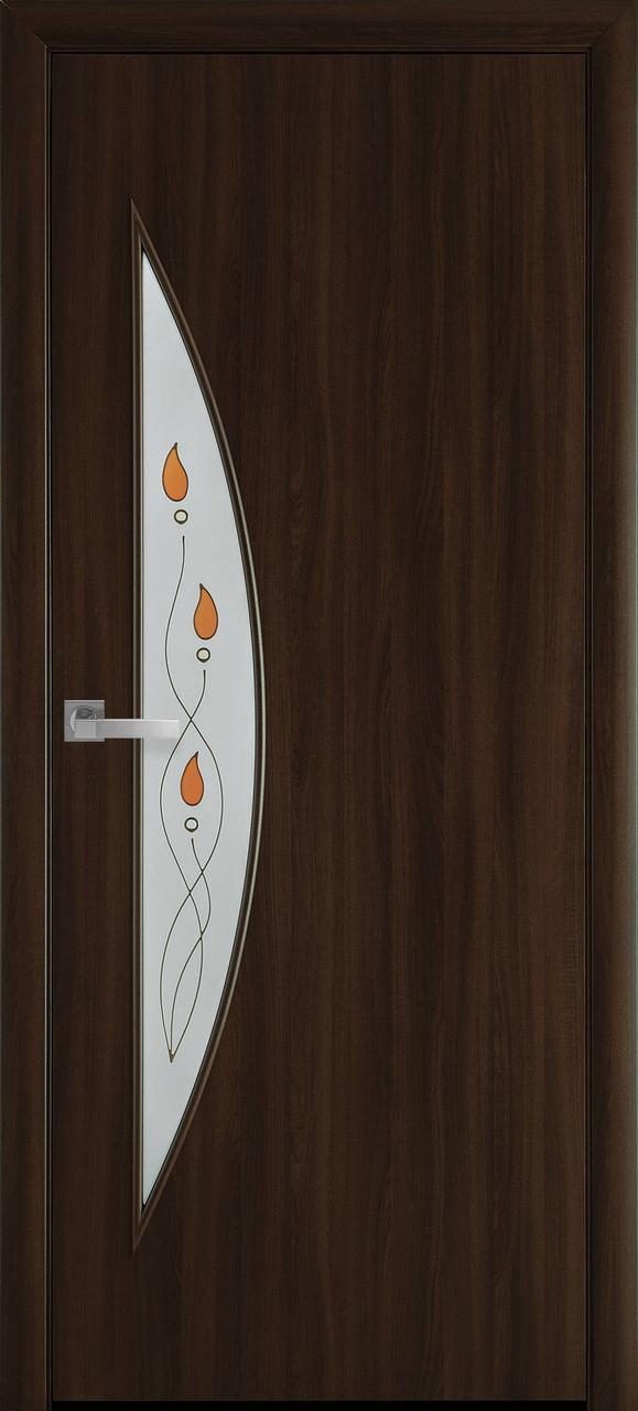 """Дверь межкомнатная """"Новый Стиль"""" модель Экошпон Луна Р1, орех 3D (стекло с рисунком)"""