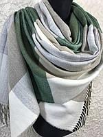Женский зимний шарф в крупную клетку с бахромой пастельных тонов (цв.6)