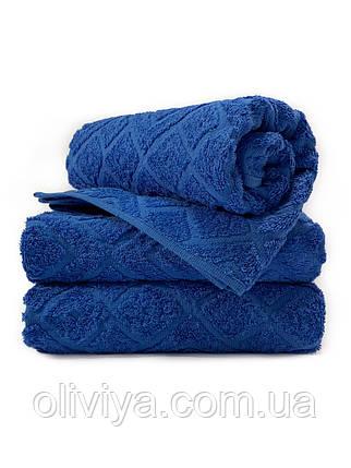 Полотенца для лица махровое Жаккард синее(электрик), фото 2