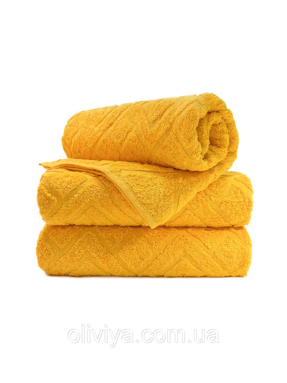 Полотенца для лица махровое Жаккард желтое
