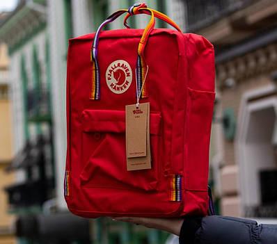 Рюкзак Fjallraven Kanken Rainbow (Фьялравен Канкен Радуга) Радужные ручки / Deep Red / Красный