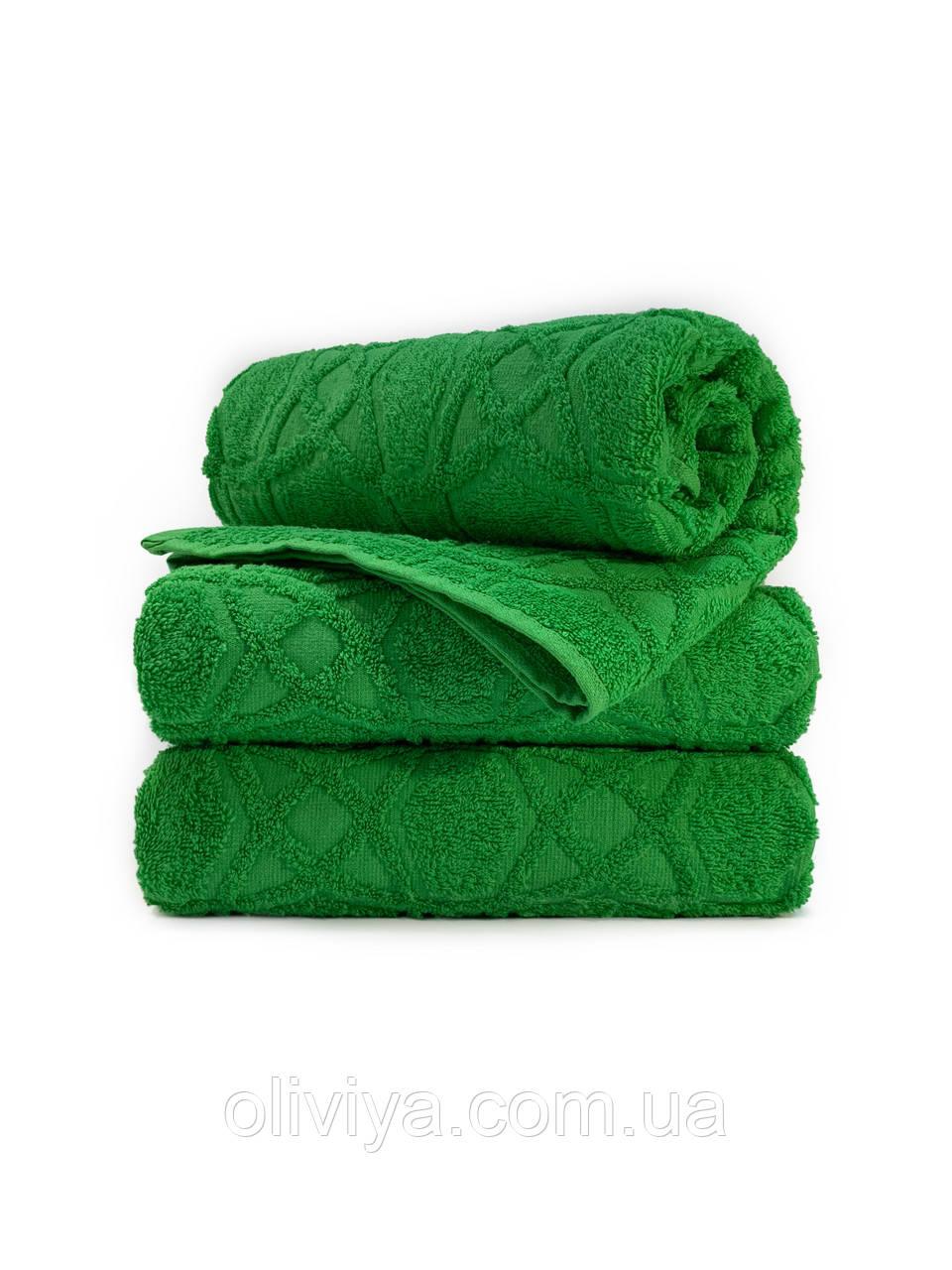 Полотенца для лица махровое Жаккард зеленое