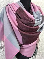 Стильный зимний шарф в крупную клетку с бахромой (цв.7)