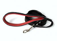 """Кожаный поводок для собаки """"Lockdog"""" 1.5 м красно-черный"""