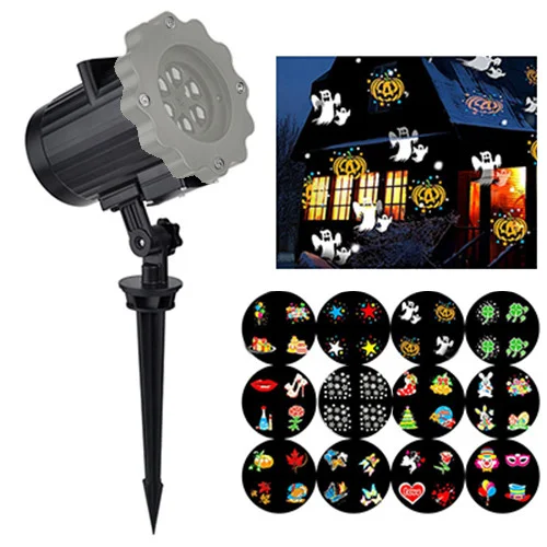 Уличный лазерный проектор 668 12 вкладышей с картинками, праздничное освещение дома, диско проектор