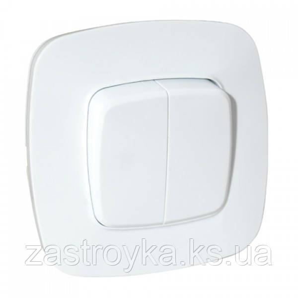 Вимикач 2-клавішний білий ELA