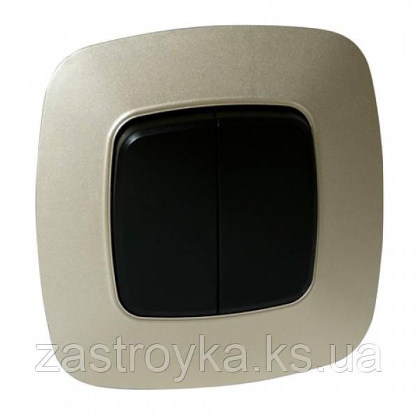 Вимикач 2-клавішний чорний-золото ELA