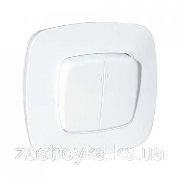 Выключатель 2-клавишный с подсветкой белый ELA