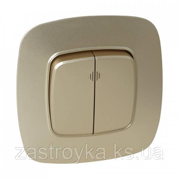 Выключатель 2-клавишный с подсветкой золото ELA