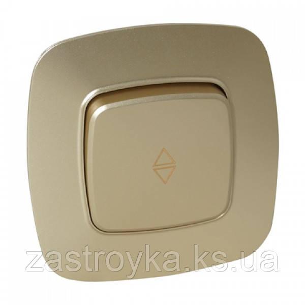Вимикач прохідний 1-клавішний золото ELA