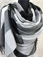 Турецкий зимний черно-белый шарф в крупную клетку с бахромой (цв.8)