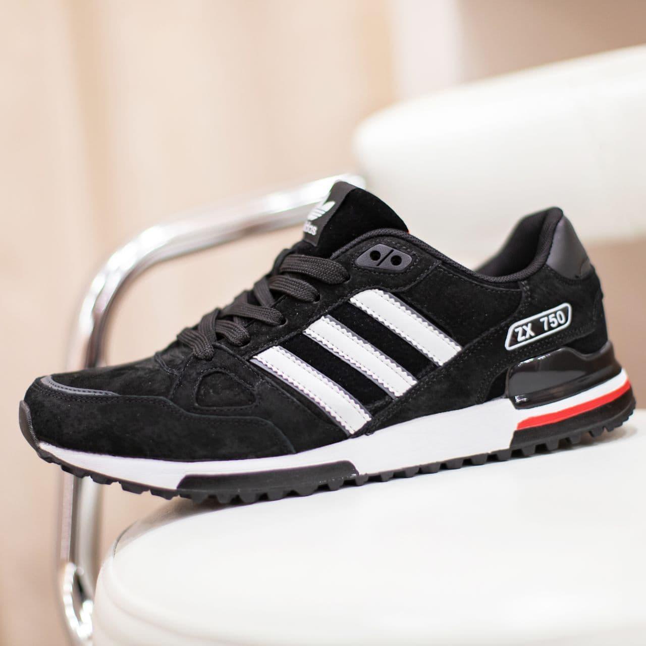 Кроссовки Adid@s ZX 750 черные с красным  41,42,43,44,45,46