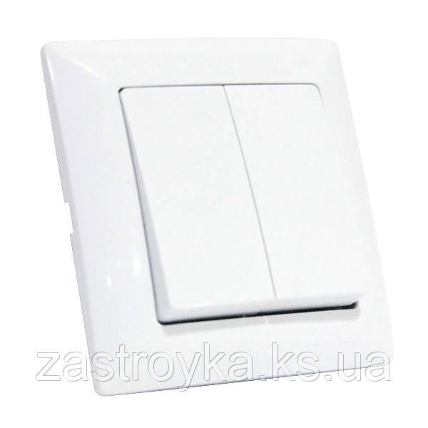 Вимикач 2-клавішний білий TINA
