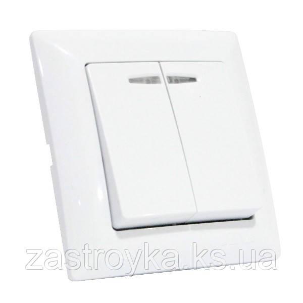 Выключатель 2-клавишный с подсветкой белый TINA