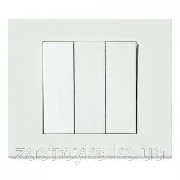 Выключатель 3-клавишный белый GRANO