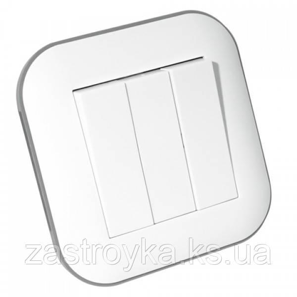 Вимикач 3-клавішний LOFT білий+сірий