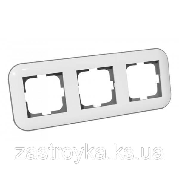 Рамка 3-ая LOFT белый+серый