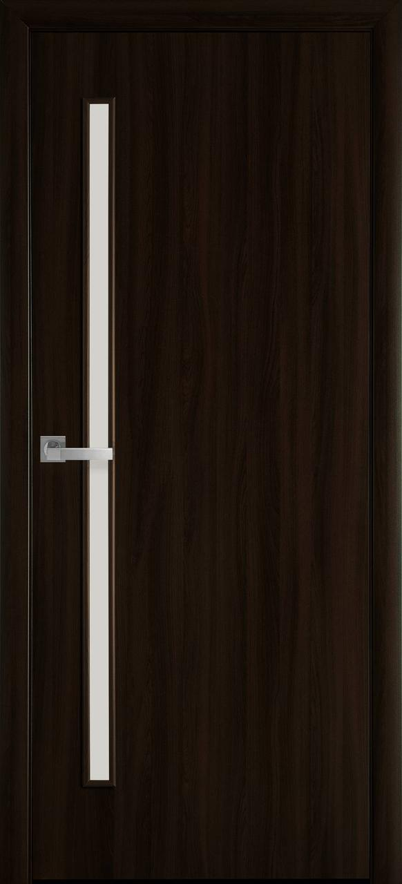 """Дверь межкомнатная """"Новый Стиль"""" модель Экошпон Глория, венге браун (со стеклом)"""
