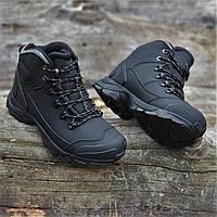 Підліткові зимові шкіряні черевики чорні (код 4759)
