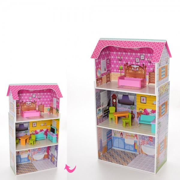 Домик кукольный деревянный 50-95-24см