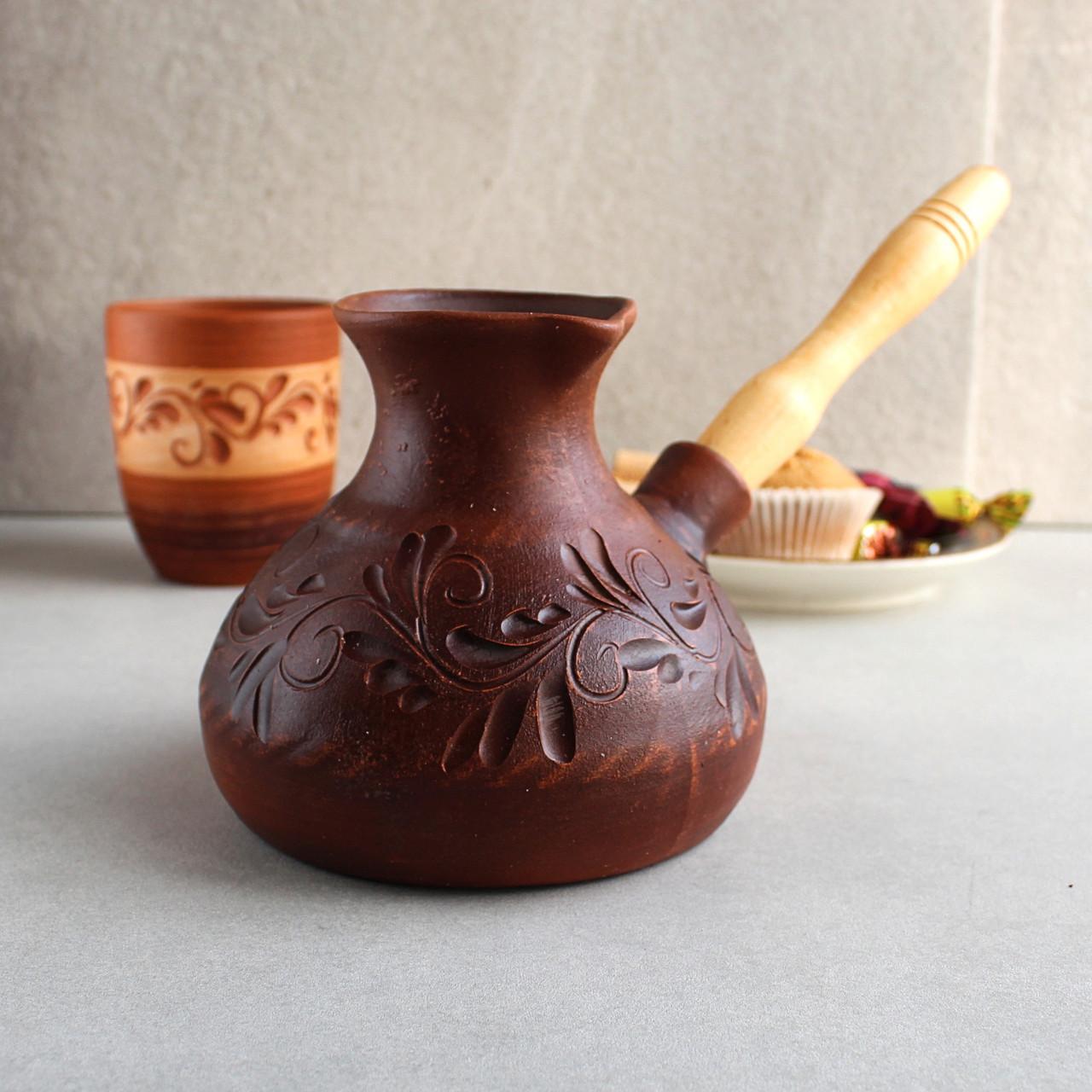Керамическая турка 700 мл из красной глины с деревянной ручкой, украинская керамика