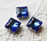 Стразы стеклянные К9 Квадрат 12 мм пришивные в оправе, синий\серебристый