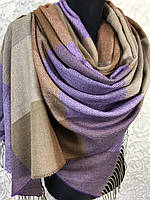 Турецкий зимний фиолетово-бежевый палантин в крупную клетку с бахромой (цв.11)