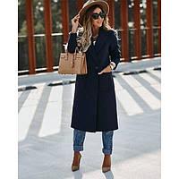 Пальто женское кашемировое утепленное зимнее Зима 4436 темно синее