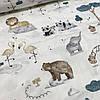 Сатин з ведмедями і лисичками на кремовому, ш. 160 см