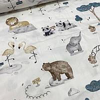 Сатин з ведмедями і лисичками на кремовому, ш. 160 см, фото 1