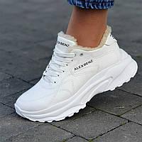 Кросівки жіночі зимові шкіряні білі на товстій підошві (код 8907) - жіночі кросівки зимові шкіряні білі