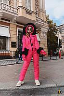 Зимний комбинезон женский с рукавичками и сумкой розовый