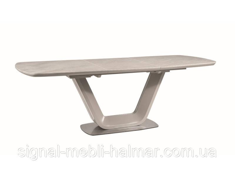 Стол ARMANI CERAMIC  серый еффект мрамора/ серый мат 160(220)X90 (Signal)