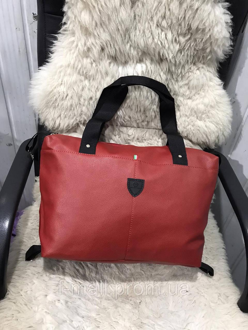 Женская дорожная сумка искусственная кожа красная