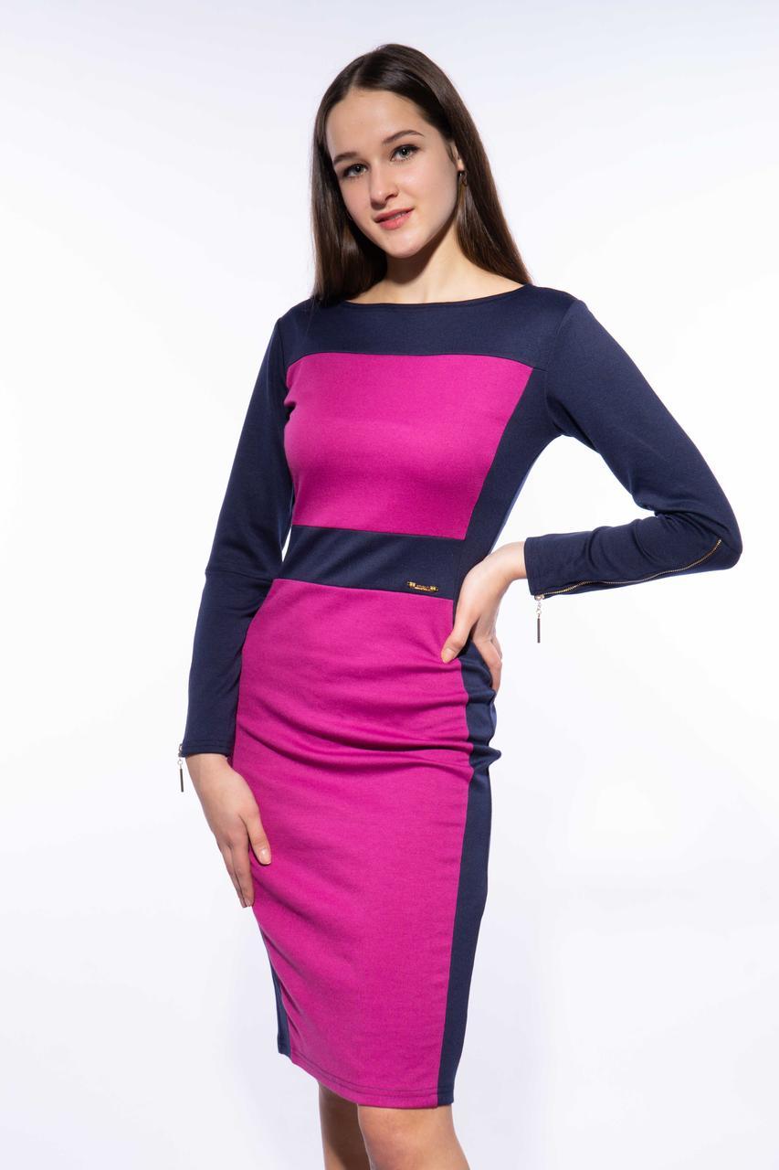 Платье женское офисное 120P067-1 (Чернильно-фиолетовый)