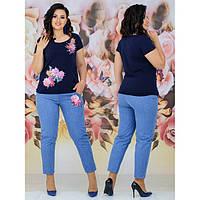 Стильный женский костюм футболка + джинсы 117 р 44-54