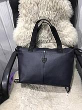 Жіноча дорожня сумка штучна шкіра темно-синя