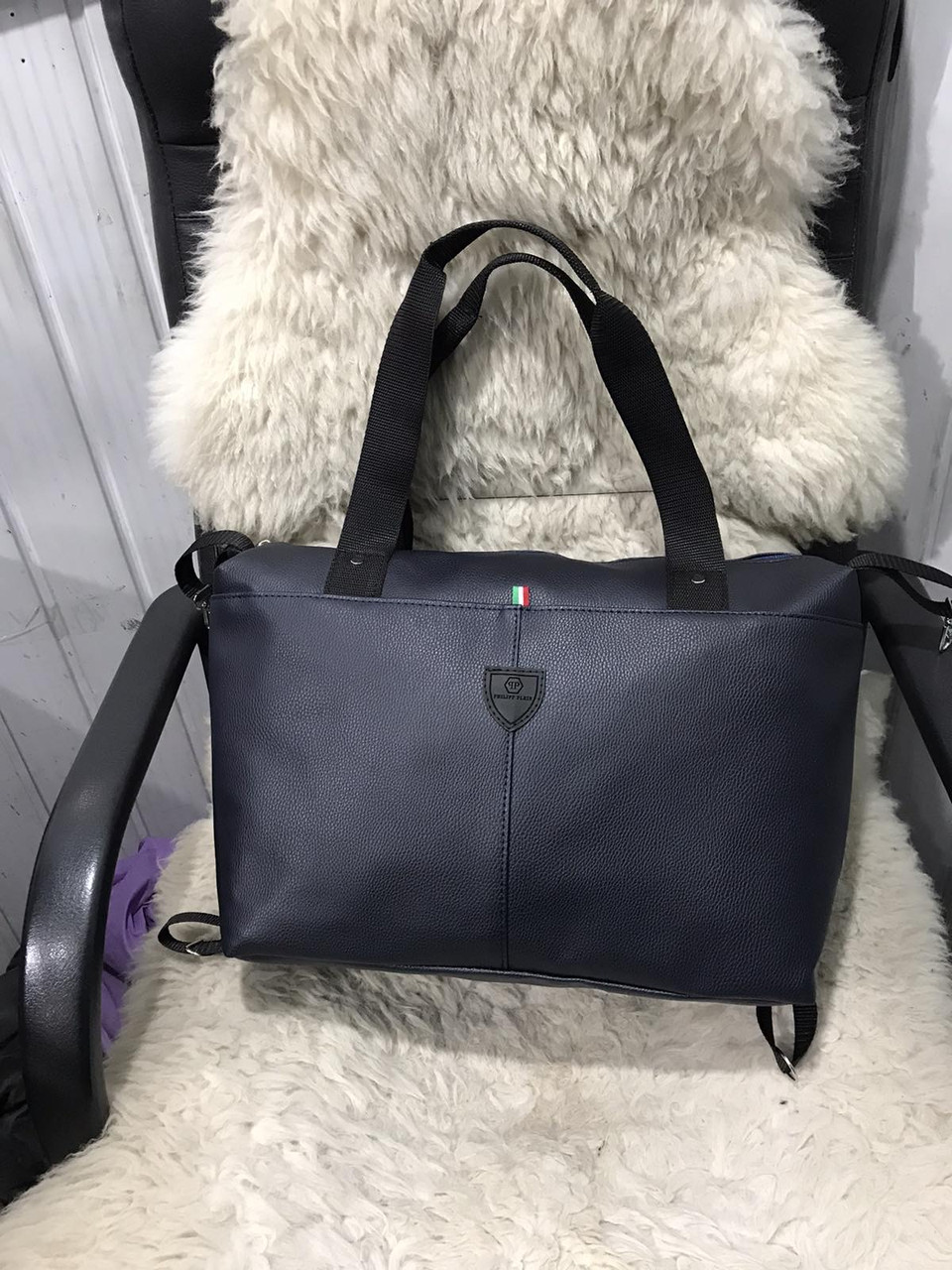 Женская дорожная сумка искусственная кожа темно-синяя