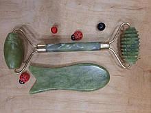 Набор массажер роллер для лица и тела плюс скребок Гуаша Рыбка
