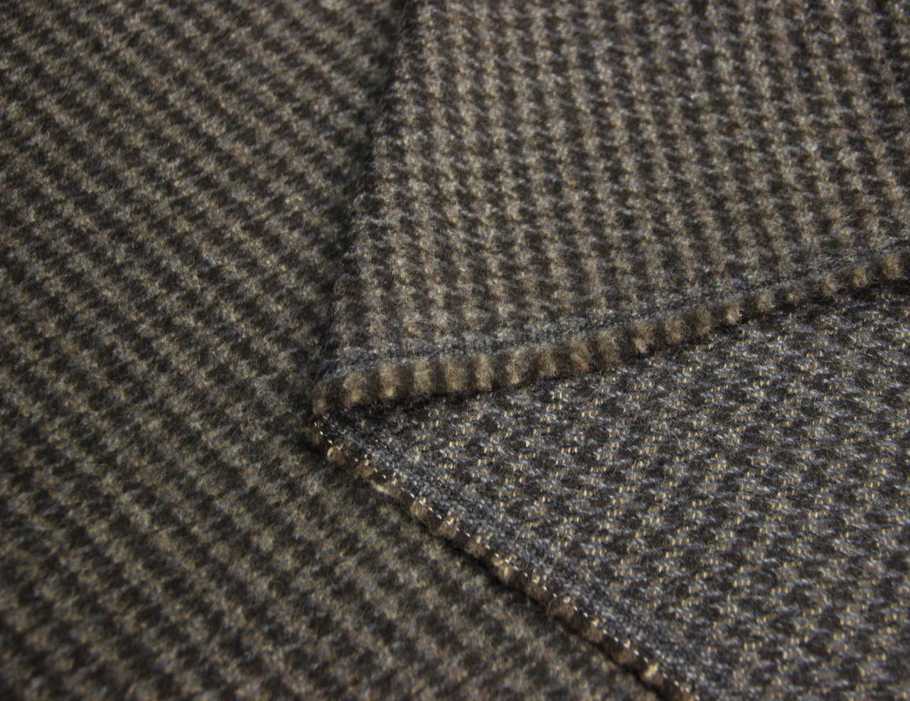 Пальтовая итальянская шерстяная натуральная ткань куриная лапка серо черная CH 172