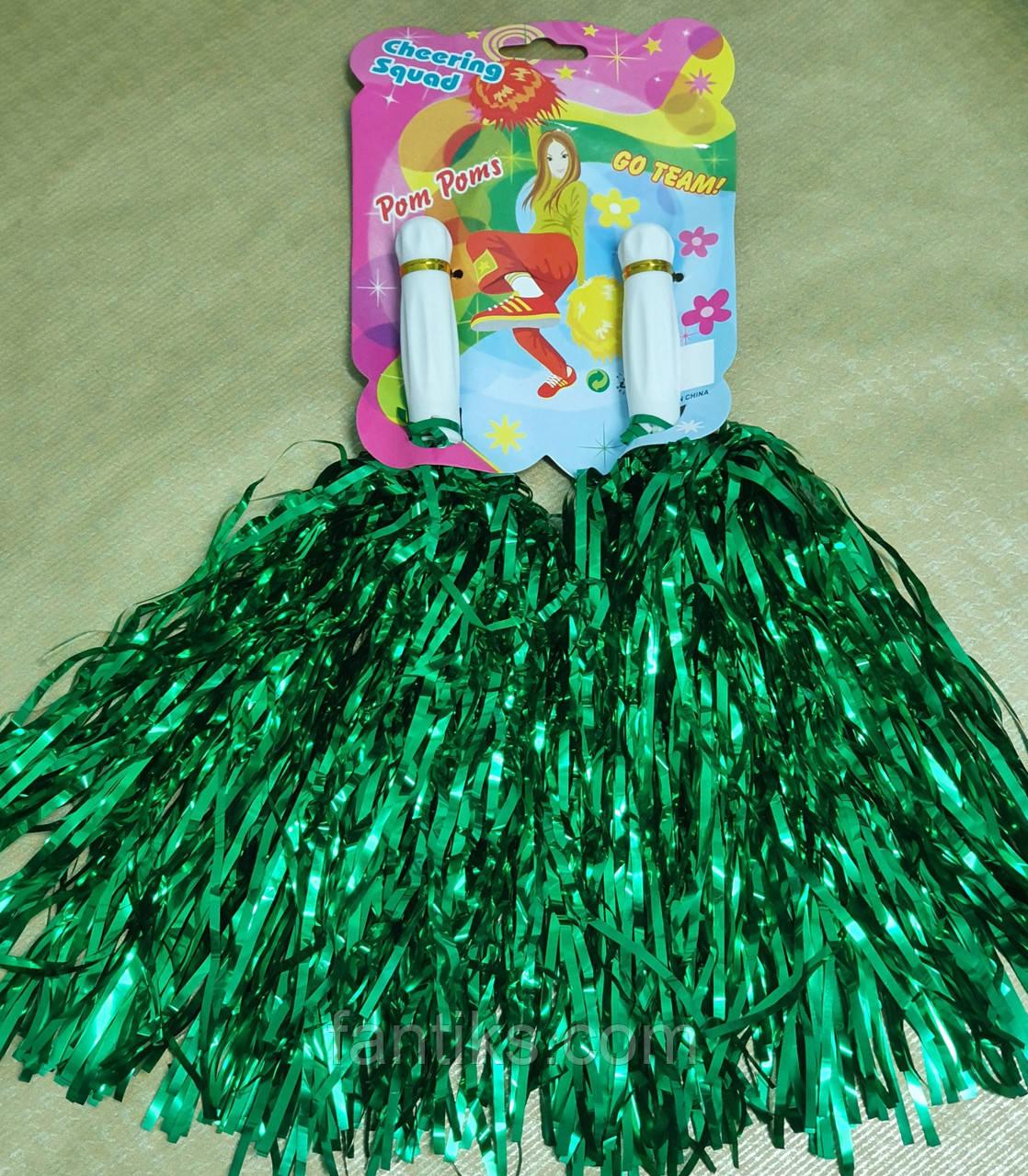 Помпоны для черлидинга зеленые - 2 шт/ комплект
