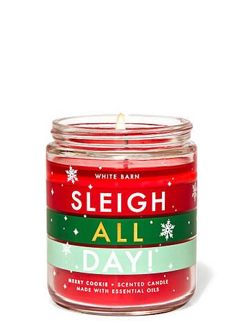 Свеча ароматизированная Bath and Body Works Sleigh All day! Merry Cookie Scented Candle 198 г, фото 2