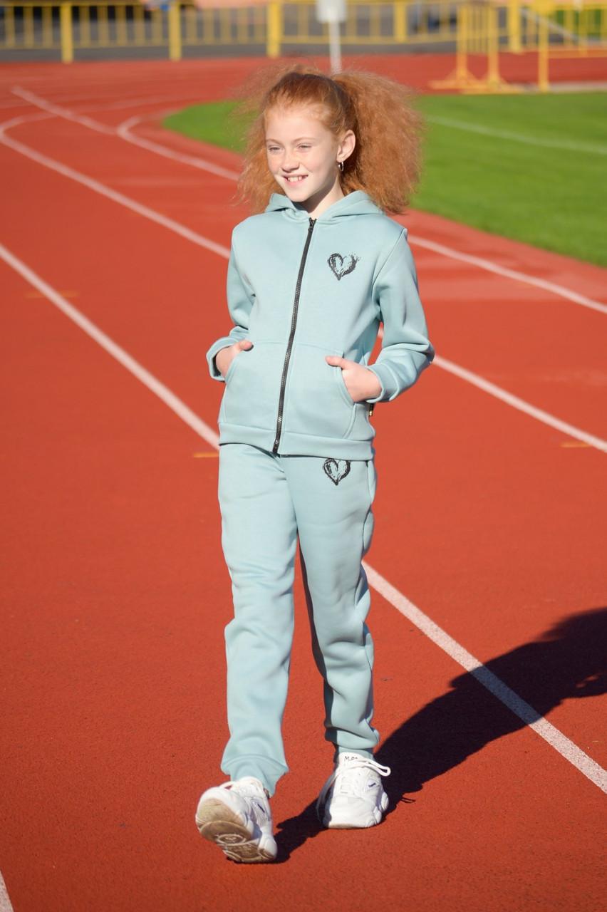 Утеплённый спортивный костюм для девочки на флисе Мятный р. 134, 140, 152